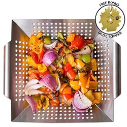 Grill Basket Wok Topper Pan Smoker for Grilling Barbecue Vegetables Fish Stir Fry Seafood Kabob  ...