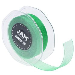 JAM PAPER Sheer Ribbon – 7/8 Wide x 100 Yards – Emerald Green – Sold individually