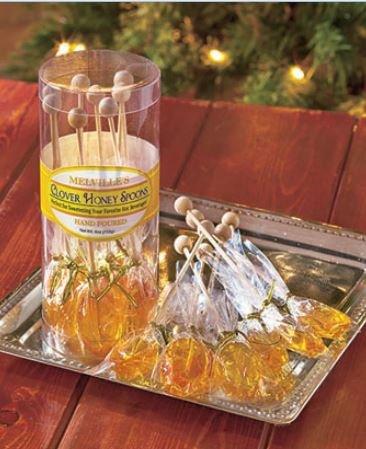 Melvilles Gourmet Hot Beverage Complements Clover Honey Spoons Stirrer 8 Ct
