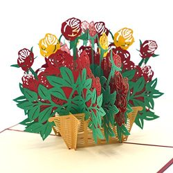 3D Valentines Day Cards, 3D Rose Flower Basket Valentines Pop Up Card Gift Flower Romance Annive ...