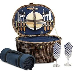 Unique Willow Picnic Basket for 2 Persons, Natural Wicker Picnic Hamper with Service Set and Ins ...