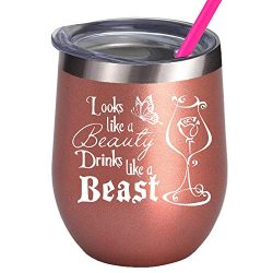 Best Friends Disney Lover Birthday Gifts For Girlfriend Women Princess Wine Glass Belle Rose Movie