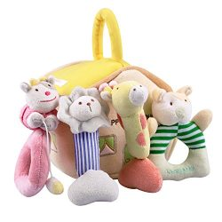 iPlay, iLearn 4 Plush Baby Soft Rattles Set, Developmental Toy w/ Hand Grip, Natural Cotton Teet ...