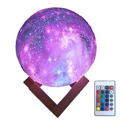 HYODREAM 3D Printing Moon Lamp Moon Light Kids Night Light 16 Color Change Touch and Remote Cont ...