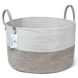 Luxury Little Nursery Storage Basket, Size XXXL :: 100% Cotton Rope Hamper with Handles :: Sturd ...