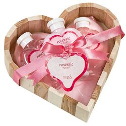 Bath, Body, and Spa Gift Set for Women, in Pink Rose Fragrance, includes a Body Lotion, Bubble B ...
