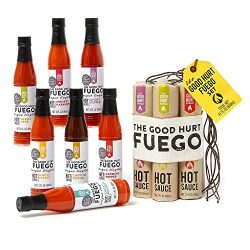 Thoughtfully Gifts, The Good Hurt Fuego: A Hot Sauce Lover's Gift Set, Sampler Pack of 7 D ...