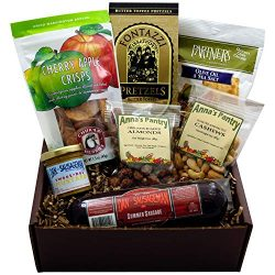 Rustic Snack Gift Box featuring Summer Sausage, Crackers, Sweet Hot Mustard, Cinnamon Almonds, C ...