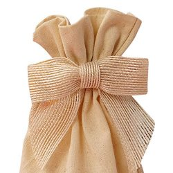 Pre-Tied White Jute Burlap Bows – 3″ Wide, Wired Craft Ribbon Christmas Bow, Wedding ...