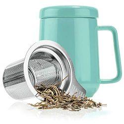 Tealyra – Peak Ceramic Turquoise Tea Cup Infuser – 19-ounce – Large Tea High-F ...