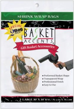 Photo Frog Basket Accents 30 by 30-Inch Shrink Wrap Bags, Large, Clear, 2-Pack