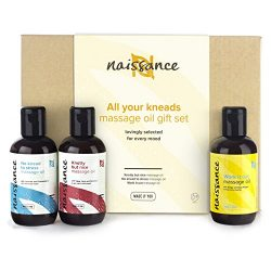 Naissance 'All Your Kneads' Massage Oil Favourites Gift Set for Any Occasion 3 x 3.4 ...