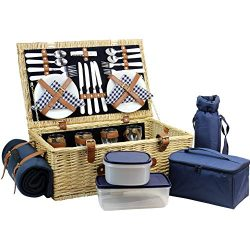 HappyPicnic Willow Picnic Basket with Deluxe Service Set for 4 Persons, Natural Wicker Picnic Ha ...