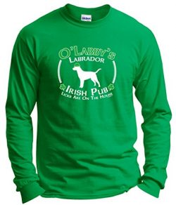 Dog Owner Gifts St Patricks Day Dog Labrador Lab Irish Pub Sign Long Sleeve T-Shirt 2XL Green