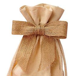 Pre-Tied Natural Jute Burlap Bows – 3″ Wide, Set of 12, Wired Craft Ribbon Christmas ...
