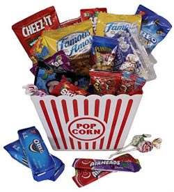 MOVIE NIGHT GIFT BASKET 30 Of Your Favorite Popcorn, Candy Cookies Crackers Perfect Birthday Box ...