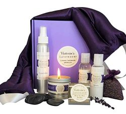 Victoria's Lavender Luxury Lavender Gift Basket for Women| Lavender Neck Wrap plus All-Nat ...