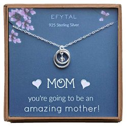 EFYTAL Baby Shower Gift, Sterling Silver Pregnancy Necklace for Expecting New Mom, Pregnant Moth ...