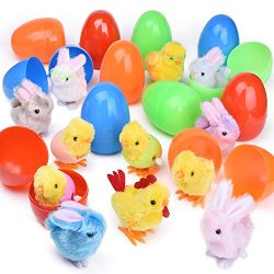 12 PCs Filled Easter Eggs with Wind Up Toys Chicks & Bunnies, 3.74″ Colorful Prefilled ...