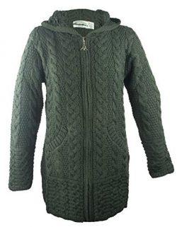 100% Irish Merino Wool Ladies Hooded Aran Zip Sweater Coat, Army Green, Extra Large