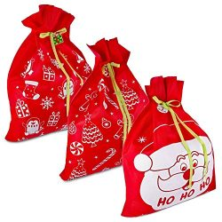 3 Giant Christmas Gift Bags 36″ x 44″ Reusable Made of Durable Fabric with Ribbon an ...