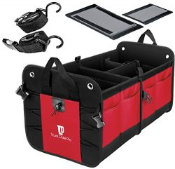 Trunkcratepro Collapsible Portable Multi Compartments Trunk Organizer, Red