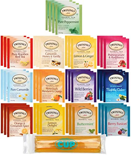 Twinings Herbal Tea Bags – 40 Individually Wrapped Tea Bags, Pure Peppermint, Camomile, Ro ...