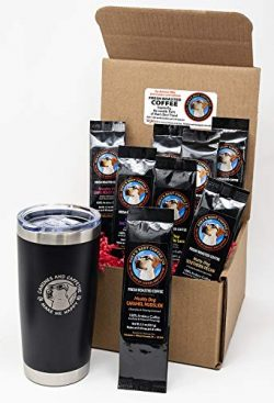 Sillybean Best Dog Lover Coffee Lover Funny Gift Sampler Set with 20 oz Stainless Steel Double W ...