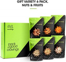 Gift Box Variety 6 Pack – Gourmet Mixed Assorted Nuts & Fruit in Individual Resealable Pouches
