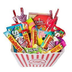Deluxe Sweet Treats Movie Night Popcorn & Candy Gift Basket or Care Package