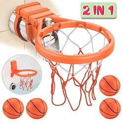 Bath Toy Basketball Hoop & Balls Playset(2 in 1 Design), with 4 balls and Mesh Bag, Bathroom ...
