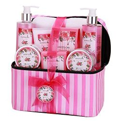 Home Spa Gift Set with Cosmetic Bag, SWEETLOVE Gift Basket 9-Piece, Rose& Peony Scent,Best g ...