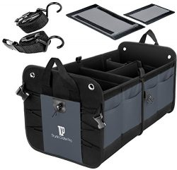 TrunkCratePro Premium Multi Compartments Collapsible Portable Trunk Organizer for auto, SUV, Tru ...