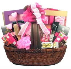 Pretty In Pink – Large Valentine Gift Basket For Her