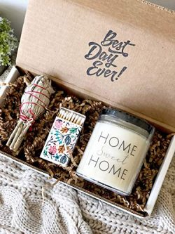 New Home Housewarming Gift – Sage Smudge Stick with Lavender & Sage Soy Candle Set