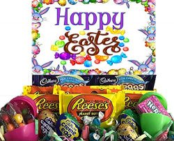 Happy Easter Care Package Filled with CADBURY Mini and Creme Eggs, Reese's Pieces Peanut B ...
