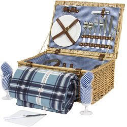 Best Choice Products 2 Person Wicker Picnic Basket W/ Cutlery, Plates, Glasses, Tableware &  ...