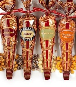 Popcornopolis Gourmet Popcorn – 4 Cones – Cheddar Cheese, Zebra, Caramel & Kettl ...