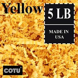 COTU (R) 5 LB Yellow Crinkle Shred Gift Basket Shred Crinkle Paper Filler Bedding (80 oz) in a Box
