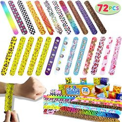 JOYIN Toy 72 PCs Slap Bracelets Valentines Day Party Favors Pack (24 Designs) with Colorful Hear ...