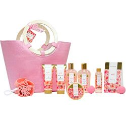 Spa Luxetique Rose Spa Gift Baskets for Women, Premium 10pc Gift Baskets, Best Holiday Gift Set  ...