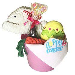 Midlee Easter Basket Dog Gift Set (Small Bandana, Pink Basket)