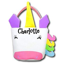 The Trendy Turtle Personalized Unicorn Halloween Candy Basket with Rainbow Accents Birthday Part ...