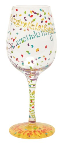 "Designs by Lolita ""Congratulations"" Hand-painted Artisan Wine Glass, 15 oz."