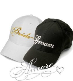Gold Bride and Groom Wedding Baseball Caps Hats GOLD Embroidery on White Hat