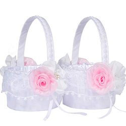 M&A Decor 2 Flower Girl Basket Set Elegant White Lace Baskets with Pink Flowers for Wedding  ...