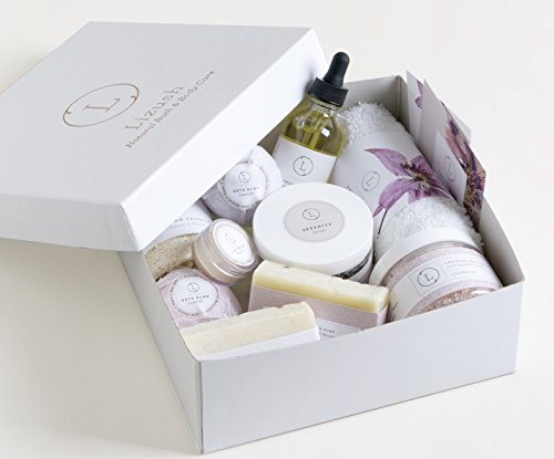 Valentine's Day Bath and Body Gift Basket For Women–10 Pc Set of Lavender, Home Spa Set, I ...