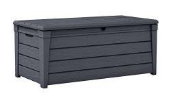 Keter Brightwood 120 Gallon Outdoor Garden Patio Storage Furniture Deck Box, Anthracite