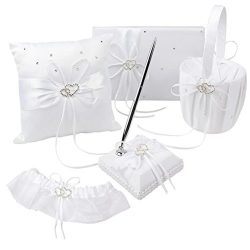 VAlink 5Pcs/lot Romantic Wedding Decoration Set Rhinestone Stain Ribbon Wedding Ring Pillow+ Gir ...