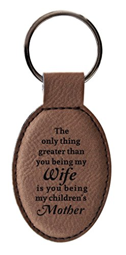 New Mom Gifts Mom Only Thing Greater Than Wife is Being Mother from Husband Leather Oval Keychai ...